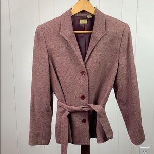 Caslon Petite Wine Colored Belted Blazer